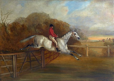 <span class=%22title%22>Grey steeplechaser taking a fence</span>