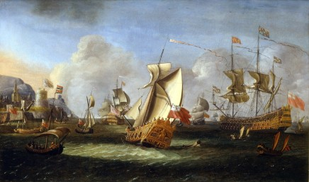 <span class=%22title%22>King William III off the coast of Ireland, June 1690, with an English Royal Yacht and the Lord High Admiral's first-rate flying the Royal Standard</span>