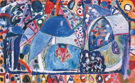 Gillian AYRES 吉莲·艾尔斯, Turkish Blue and Emerald Green that in the Channel Stray 在海峡中流浪的土耳其蓝和祖母绿, 1996