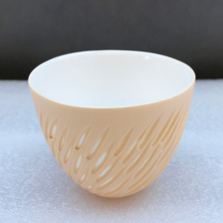 Sasha Wardell 'Shoal' Tea Bowl, 2021 sand/white layered and sliced bone china Inscribed with artist's initials on base h. 6.5 cm x dia. 8 cm