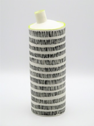 Jane Muende, Tall bottle with off kilter neck, repeated painted lines, lime green on neck rim and bottle ridge., 2020