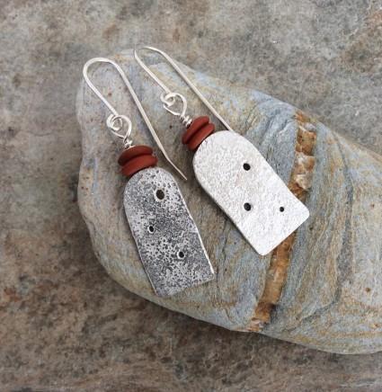 Roberta Hopkins, Red Jasper Eroded earrings, 2019