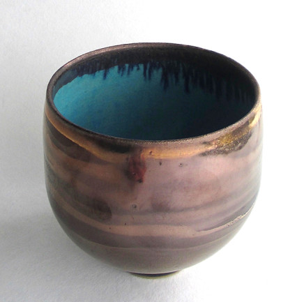 Gold Lustred Tall Blue Pool Bowl, 2017