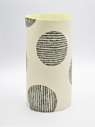 Jane Muende, Translucent white cylinder with black painted 'stitch lines' within circle, lime green rim, 2020