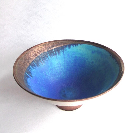 Copper Lustred Blue Pool Bowl, 2017