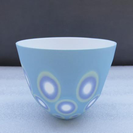 Sasha Wardell Small/medium 'Space' Bowl , 2021 blue/green/lavender/white layered and sliced bone china inscribed with artist's initials to base h. 10.5 cm x dia. 12 cm