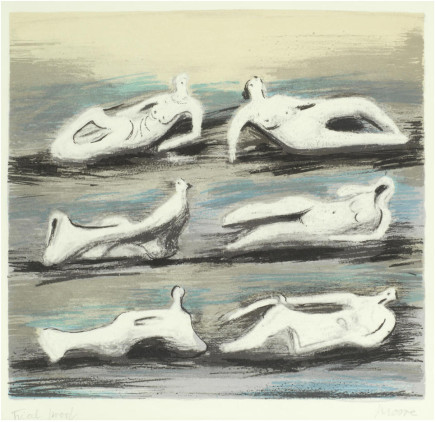 Henry Moore OM CH, Six Reclining Figures with Blue Background (Cramer 579), 1980