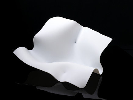 Lisa Pettibone White Fold 7, 2021 Part of a series available in other colours, a slumped and etched glass form that can be shown in multiple positions. 41 x 41 x 13 cm 16 1/8 x 16 1/8 x 5 1/4 in
