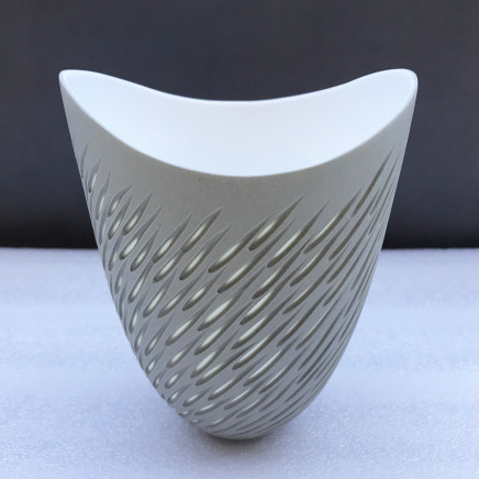 Sasha Wardell 'Shoal' Vase, 2021 sepia/white layered and sliced bone china inscribed with the artist's initials to the base h. 13 cm x w. (widest point) 17 cm