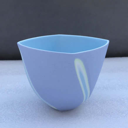 Sasha Wardell Medium 'Twist' Bowl, 2021 lavender/green/white/blue layered and sliced bone china inscribed with the artist's initials to the base h. 9 cm x w. (widest point) 12 cm
