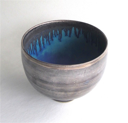 Sarah Perry, Tall Silver Lustred Blue Pool Bowl, 2020