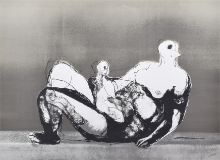 Henry Moore OM CH, Reclining Mother and Child with Grey Background (Cramer 655), 1982