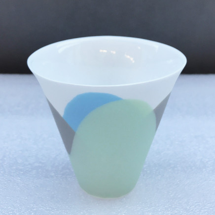 Sasha Wardell 'Tide' Flared Cup, 2021 green/sepia/blue/white layered and sliced bone china (glazed) Inscribed with artist's initials to base h. 8 cm x dia. 8 cm