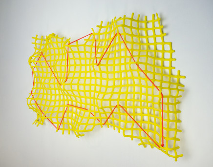 Lisa Pettibone Terra Incognita , 2021 fused, slumped & etched yellow glass with fluorescent red cord (wall sculpture) 38 x 60 x 7 cm 15 x 23 3/4 x 2 3/4 in