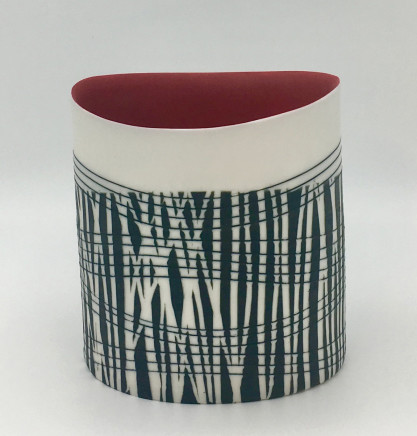 Lara Scobie, Oval Vessel with Red Interior, 2019