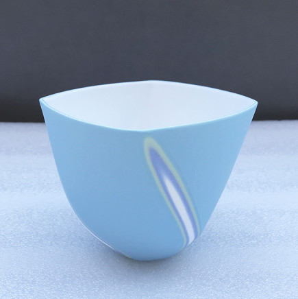 Sasha Wardell Medium 'Twist' Bowl, 2021 blue/green/lavender/white layered and sliced bone china inscribed with the artist's initials to the base h. 9 cm x w. (widest point) 12 cm