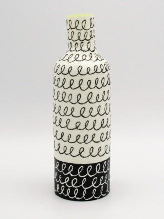Jane Muende, High shoulder bottle, blalck & white with contrasting helter skelter lines, lime green rim, 2020