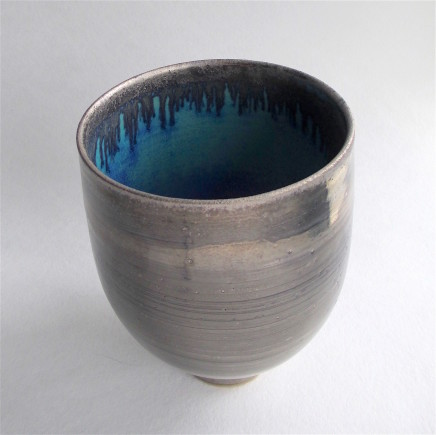 Silver Lustred tall Blue Pool Bowl , 2017