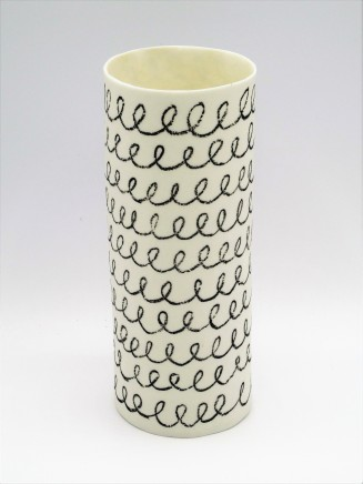 Jane Muende, White cylinder with black drawn helter skelter in wax crayon, 2020