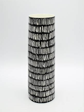 Jane Muende, Velvet black cylinder with repeated drawn verticle line in white wax crayon, 2020