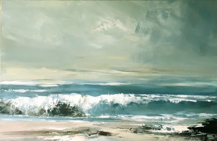 Jenny Hirst Porthmeor, 2021 acrylic on canvas (unframed) signed to front h. 60 cm x w. 90 cm