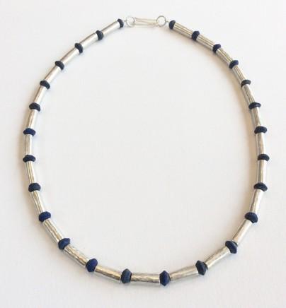 Roberta Hopkins, Lapis Lazuli and silver tubes (Medium), 2019
