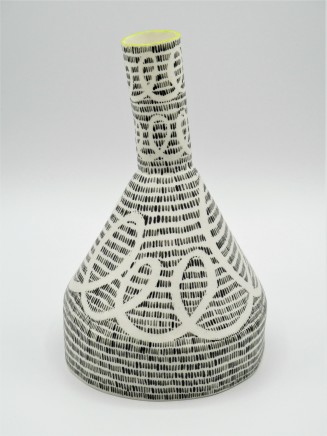 Jane Muende, Conical bottle with drawn helter skelter and lines in wax crayon, lime green rim., 2020
