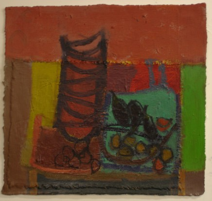Tony Scrivener Kitchen, 2014 mixed media on paper and canvas signed by the artist h. 28 x w. 30 cm