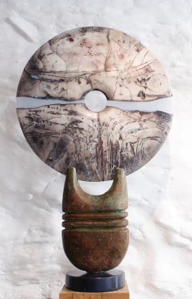 Peter Hayes, Raku Disc on Bronze Base, 2018