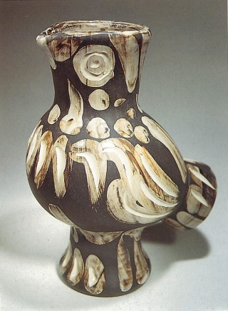 AR 605 - Wood Owl, 1969  Pablo Picasso  Turned vase; white earthenware clay, engobe decoration engraved by boring-rod under partial brushed glaze; black patina; brown, black  11.81 x 8.86 inches (30 x 22.5 cm)  Edition 188/500