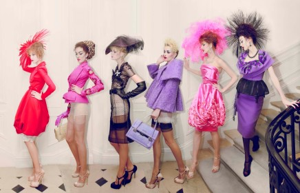 Dior 6 Girls, Haute Couture Winter 2009  Simon Procter  C-print  47.24 x 73.23 inches (120 x 186 cm)  Edition 6/10, 2AP
