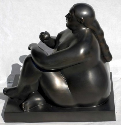 Donna Seduta con Mela (Woman Sitting with Apple), 2011  Fernando Botero  Bronze  14.57 x 10.24 x 14.96 inches (37 x 26 x 38 cm)  Edition EA 1/2