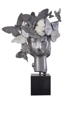 Cabeza con tocado de mariposas, 2013  Manolo Valdés  Aluminum  18 x 11 3/4 x 7 inches  45.7 x 29.8 x 17.8 cm  Edition 3/9