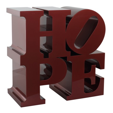 Eternal HOPE (Red), 2009  Robert Indiana  Multiple layers of custom metallic paint on fabricated aluminum  18 x 18 x 9 inches (45.7 x 45.7 x 22.9 cm)  Edition I/IX