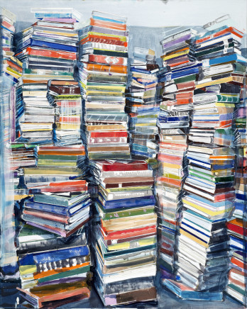 Bucher (Vertikal) / Books (Vertical), 2016  Thomas Hartmann  Oil on canvas  59 1/8 x 47 1/4 inches  150 x 120 cm