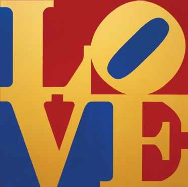 Book of LOVE (Gold/Red/Blue), 1996  Robert Indiana  Fabricated metal, powder coat, and silkscreen in colors  26 x 26 x 2 inches (66 x 66 x 5.1 cm)  Edition V/V