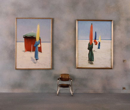 "Charles Matton, Two Paintings ""Deauville Parasols"" in a Museum, 1986"