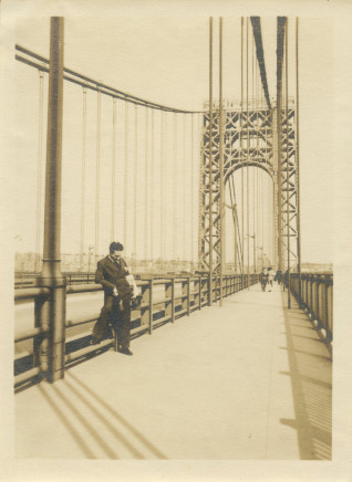Alexander Artway, George Washington Bridge with Martin D'Esseu in foreground, April 28, 1935