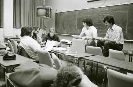 Sunil Gupta, Sunil at management class, Sir George Williams (Concordia) University, Drummond Street, Montreal, 1974