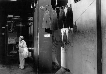 Dawoud Bey, A Woman with Hanging Overalls, 1978