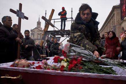 Larry Towell, Kiev, Ukraine [Funeral for demonstrator shot by sniper, Maidan uprising], 22 February 2014