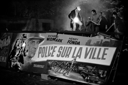 Bruno Barbey, Barricade set up with film posters, Boulevard Saint-Michel, Paris, France, 1968