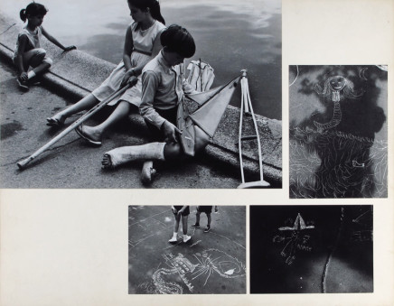 Dave Heath, Untitled [children by fountain with toy boat, sidewalk chalk], September 1962