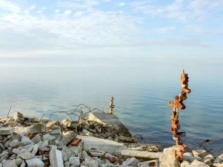Robert Burley, Shoreline of the Flats with brick and rebar constructions, Tommy Thompson Park, Toronto, 2020