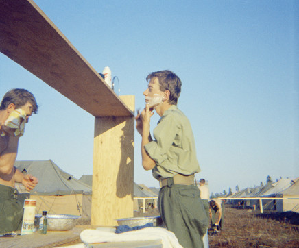 Sunil Gupta, Shaving, Canadian Forces Base Valcartier, circa 1971