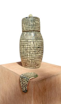 Martin Poppelwell, Grid Ginger Jar + Tile, 2018