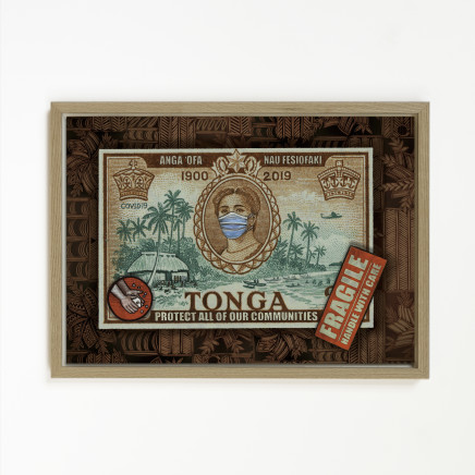 "Michel Tuffery, Anga ofa, Nau Fesiofaki, Tonga "" Be kind to each other, look after each other"", 2020"