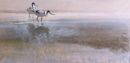 "Ewoud de Groot  AVOCET I  Oil on linen  28"" x 55"""