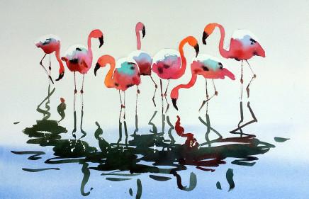 "Jake Winkle FLAMINGOS Watercolour 13"" x 18"""