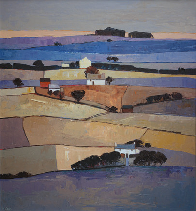 "Mary Pym  HAMPSHIRE FARMLAND 2  Oil on board  32"" X 29"""